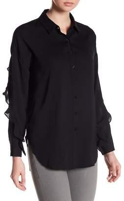 1 STATE 1.State Ruffle Sleeve Back Split Shirt
