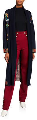 Oscar de la Renta Tree of Life Wool Cardigan