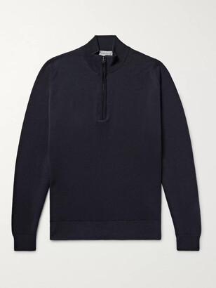 John Smedley Tapton Slim-Fit Merino Wool Half-Zip Sweater - Men - Blue