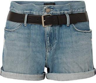RtA Pierce Belted Distressed Denim Shorts - Light denim