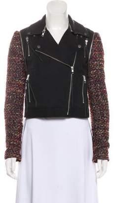 Elizabeth and James Leather-Trimmed Tweed-Accented Twill Biker Jacket