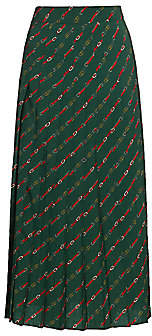 Gucci Women's Diagonal GG Logo Horsebit-Print Pleated Wool Midi Skirt