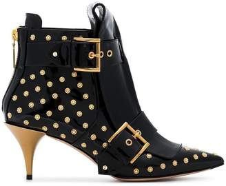 Alexander McQueen Black 75 Buckle Studded Patent Leather Boots