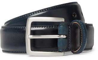 George Cleverley 3.5cm Dark-Blue Horween Shell Cordovan Leather Belt