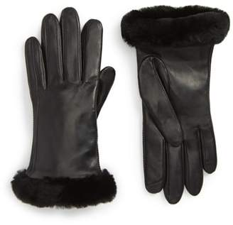 UGG Collection Classic Leather Tech Gloves with Genuine Shearling Trim