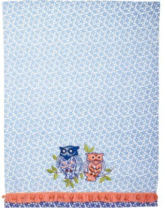 Sur La Table Indigo Owls Vintage-Inspired Kitchen Towel