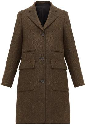 Margaret Howell Soft City Herringbone Wool Coat - Womens - Dark Green
