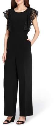 Tahari Lace Sleeve Crepe Jumpsuit