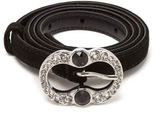 Prada Crystal Embellished Suede Belt - Womens - Black