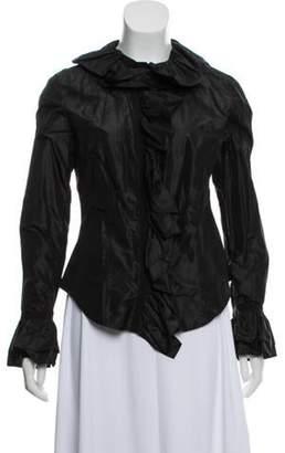 Etro Ruffle-Accented Silk Top Black Ruffle-Accented Silk Top