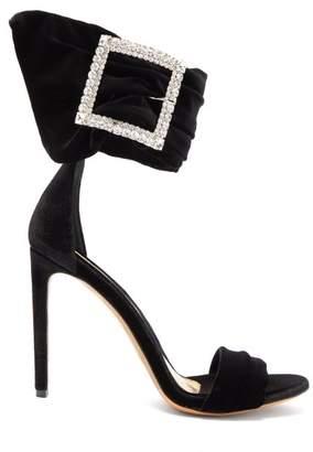 Alexandre Vauthier Yasmin Crystal Embellished Velvet Sandals - Womens - Black