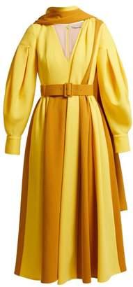 Emilia Wickstead Farell Bi Colour Wool Crepe Dress - Womens - Yellow Multi