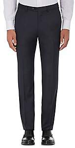 Brioni Men's Wool Flat-Front Trousers - Navy
