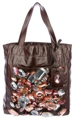 Marc Jacobs Embellished Leather Tote Brown Embellished Leather Tote