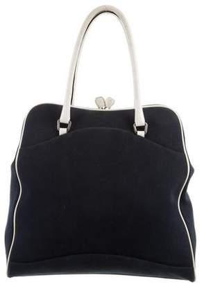 Prada Leather-Trimmed Canvas Bag