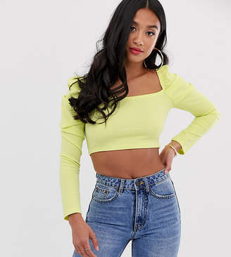 PrettyLittleThing Petite Petite crop top with puff sleeve in yellow