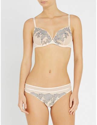152fdd6b08 at Selfridges · Chantelle Garnier floral-lace and mesh plunge bra