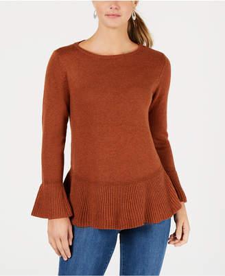 Style&Co. Style & Co Petite Bell-Sleeve Peplum Sweater
