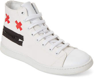 Marc Jacobs White Zip Face Canvas High-Top Sneakers