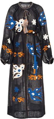 Vita Kin Parrot Appliquéd Embroidered Linen Midi Dress Size: XS