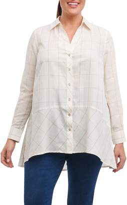 Foxcroft Daniela Windowpane Tunic Shirt