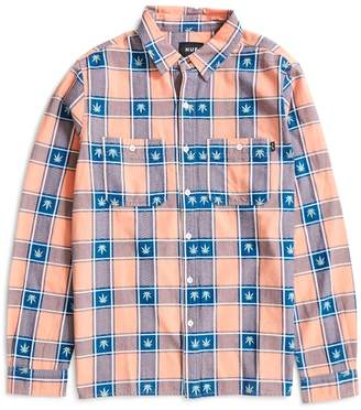 HUF Plantlife Plaid Long Sleeve Shirt Pink