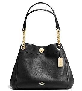 Coach Turnlock Edie Shoulder Bag In Polished Pebble Leather