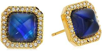 Color Changing 18k Gold Plated Bronze Square Halo Czech and Created Crystal Modern Mood 8 mm Stud Earrings