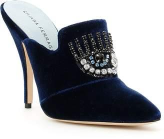 Chiara Ferragni Velvet Jewel Mules