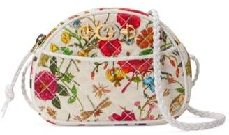 Gucci Quilted Flora Print Dome Crossbody Bag