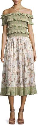 Rebecca Taylor Smocked Off-the-Shoulder Halter Floral-Print Maxi Dress, Multicolor $650 thestylecure.com