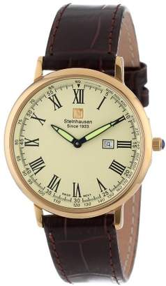 Steinhausen Men's TW493G Dunn Horitzon Thin -Tone Stainless Steel Watch with Brown Band
