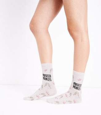 New Look Stone Prosecco Princess Slogan Socks