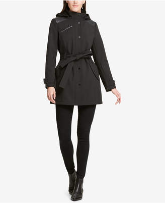 DKNY Faux-Leather-Trim Hooded Raincoat