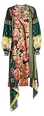 Oscar de la Renta Women's Blouson Sleeve Patchwork Silk Dress
