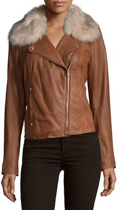 Karl Lagerfeld Paris Women's Faux Fur-Trimmed Moto Jacket - Cognac, Size x-large