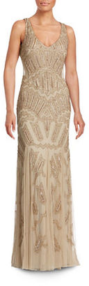 Adrianna Papell Beaded Mesh Inset Gown $340 thestylecure.com
