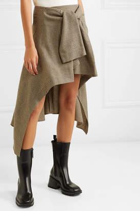 Chloé Asymmetric Houndstooth Wool Skirt - Green