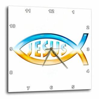 3dRose Christian Fish Symbol Jesus (chrome), Wall Clock, 15 by 15-inch
