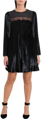 RED Valentino Velvet Dress With Lace Insert