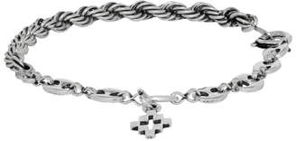 Marcelo Burlon County of Milan Silver Braided and Chain-Link Cross Bracelet