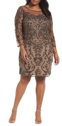 Pisarro Nights Illusion Sleeve Beaded Sheath Dress