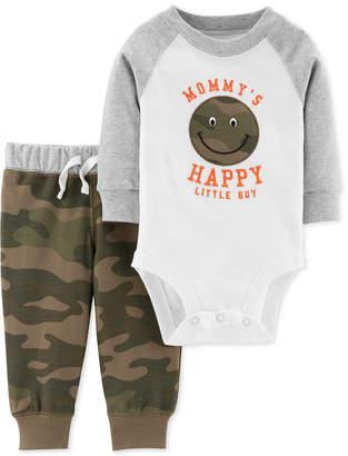 Carter's Baby Boys 2-Pc. Cotton Happy Face Bodysuit & Camo-Print Pants Set