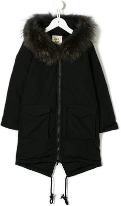 Douuod Kids fur-trimmed hood coat