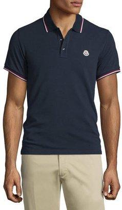 Moncler Navy-Tipped Short-Sleeve Pique Polo Shirt, Navy $190 thestylecure.com