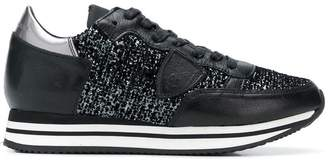 Philippe Model glitter-panelled sneakers
