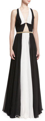Jenny Packham Sleeveless Colorblock Belted Gown, Black/White $4,275 thestylecure.com