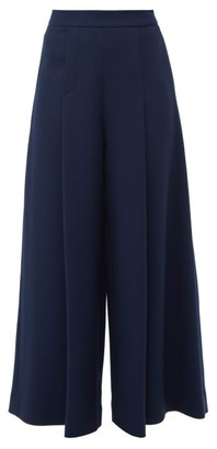 Emilia Wickstead Pacifica Wool Crepe Wide Leg Trousers - Womens - Dark Navy