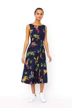 Emily And Fin Jasmine Playful Parrots Dress - 8 - Blue/Red/Yellow