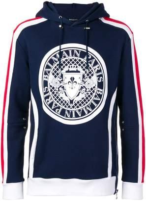 Balmain side stripe medallion hoodie